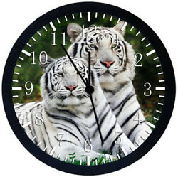 Beautiful White Tiger Black Frame Wall Clock E366