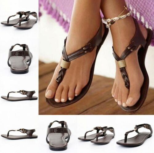 Roma Leisure Womens Summer Buckle Thong Flat Gladiator Chic Sandal Vintage Shoes