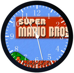 Old Fashion Super Mario Black Frame Wall Clock E117