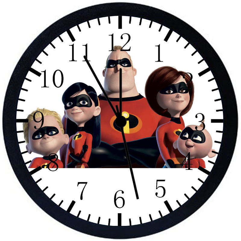 Disney The Incredibles Black Frame Wall Clock Nice For Decor or Gifts F78