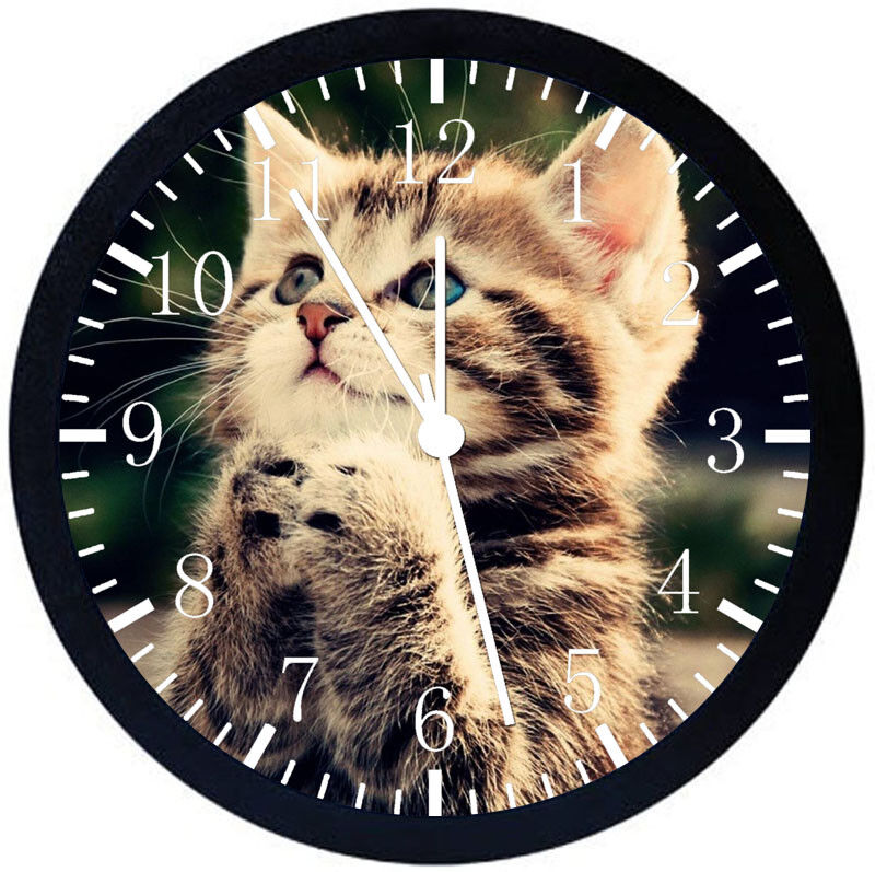 Cute Cat Kitten Black Frame Wall Clock Nice For Decor or Gifts F77