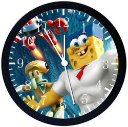 SpongeBob SquarePants Black Frame Wall Clock Nice For Decor or Gifts Z200