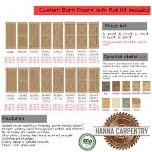Handmade Barn doors -ECO Friendly- Rail kit included and TAX!