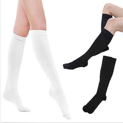 Damen Damen Plain über die Knie schwarz weiße Socken Schule hohe Strümpfe FB_ CL