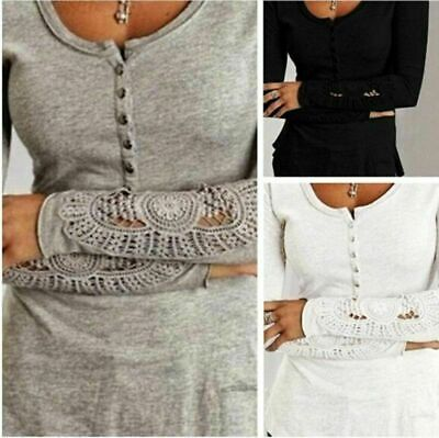 Fashion Women Long Sleeve Shirt Casual Lace Blouse Loose Cotton Tops TShirt Fashion Women Lace