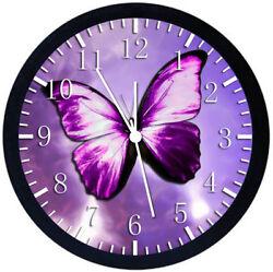 Beautiful Purple Butterfly Black Frame Wall Clock Y02
