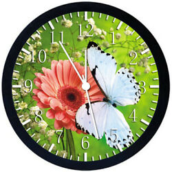 Beautiful Butterfly Flower Black Frame Wall Clock Nice For Decor or Gifts W379