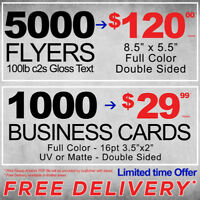 Business Cards, Flyers, Postcards, Brochures Print FREE DELIVERY