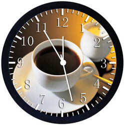 Cup Of Coffee Black Frame Wall Clock Nice For Decor or Gifts Y40