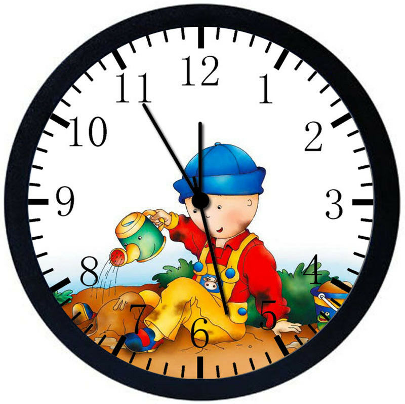 Little Caillou Black Frame Wall Clock Nice For Decor or Gifts Z172