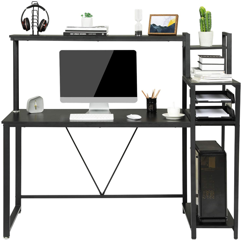 """59"""" Home Office Desk Computer Desk Study Desk Writing Table with 4-Tier Shelves 5"""