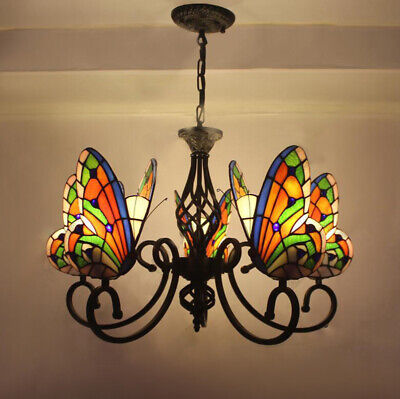 Vintage Tiffany Style Stained Glass Butterfly 5 Arms Wrought Iron Chandelier - Butterfly Chandelier