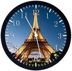 Eiffel Tower Black Frame Wall Clock Nice For Decor or Gifts W398