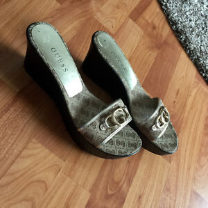 Guess ladies size 10 slip on sandals worn once