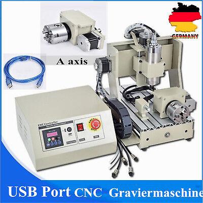 USB PORT CNC Router Graviermaschine FräSmaschine 4Achse 3020 Milling FräSer 800W