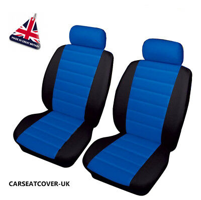 TESLA ROADSTER - Front PAIR of Blue/Black LEATHER LOOK Car Seat Covers