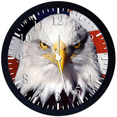 American Eagle Flag Black Frame Wall Clock Nice For Decor or Gifts Z144