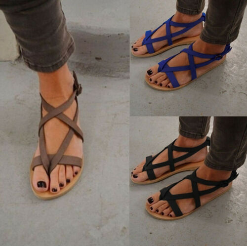 Details about Summer Womens Thong Sandals Roma Gladiator Strappy Ladies Bohemia Flat Shoes