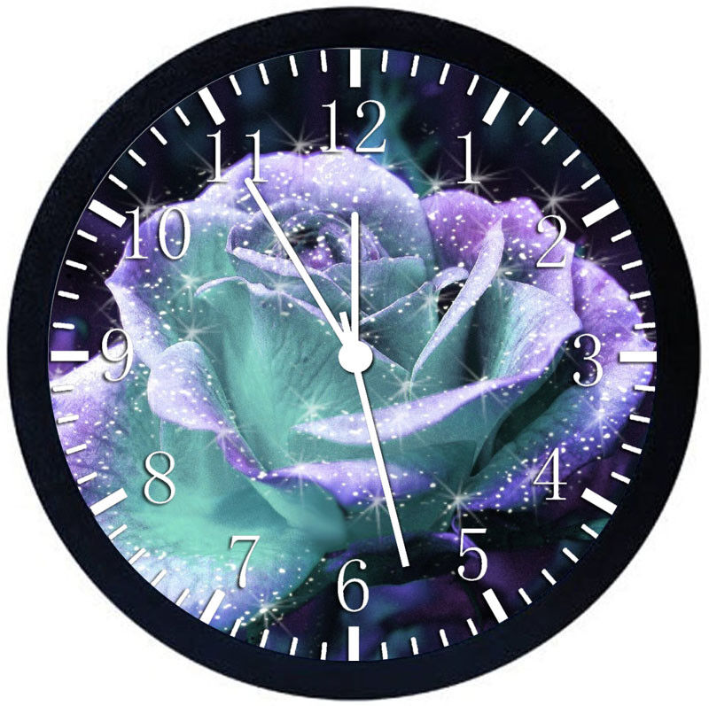 Sparkling Rose Black Frame Wall Clock Nice For Decor or Gifts Z167