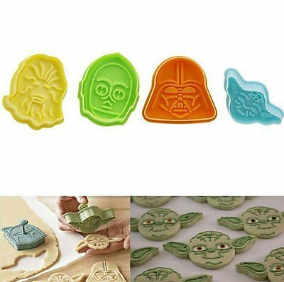 Star Wars Decorations Diy (DIY 4pcs Character Star Wars Fondant Cake Plunger Cutter Decor Cookie Mold)