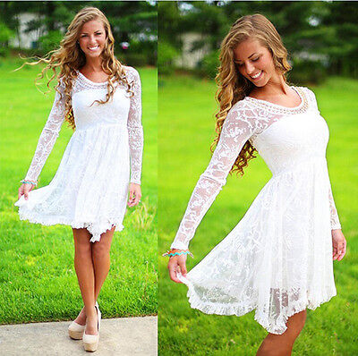 New Short Wedding Dresses Country Lace  Long Sleeve Beach Bridal Gown Plus size