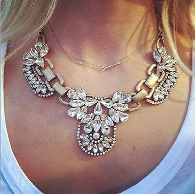 Fashion Women Chain Pendant Statement Choker Bib Chunky Crystal Necklace Jewelry