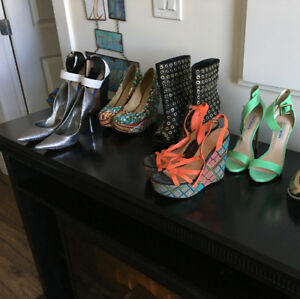 13 pairs of Women 6 1/2 shoes: Nike, Steve Madden, Guess, Aldo