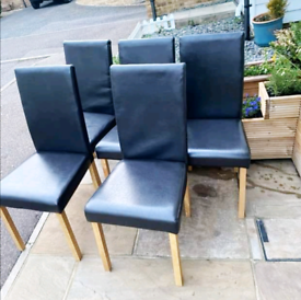 5 x Black Leather Dining Chairs