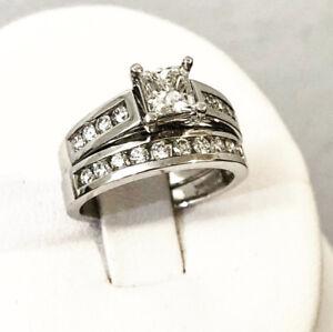 19K White Gold Diamond Engagement Ring Set *Appraised at $8,400