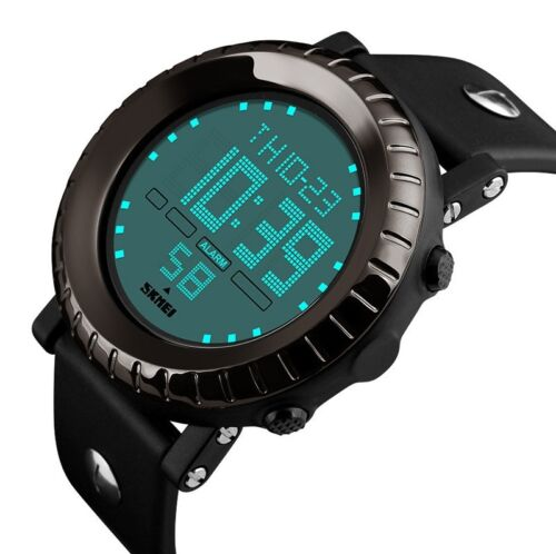 Men Fashion Military Stainless Steel Digital LED Date Sport Quartz Wrist Watch