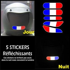 5 Stickers RETRO-REFLECHISSANTS FRANCE pour CASQUE drapeau cocarde