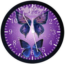 Purple Butterfly Black Frame Wall Clock E124