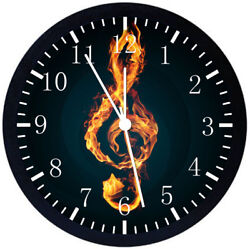 Music Treble Clef Black Frame Wall Clock Nice For Decor or Gifts E344