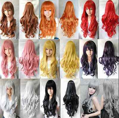80CM Fashion Women Lady Long Wavy Curly Hair Anime Cosplay Party Full Wig Wigs (Anime Costumes For Women)