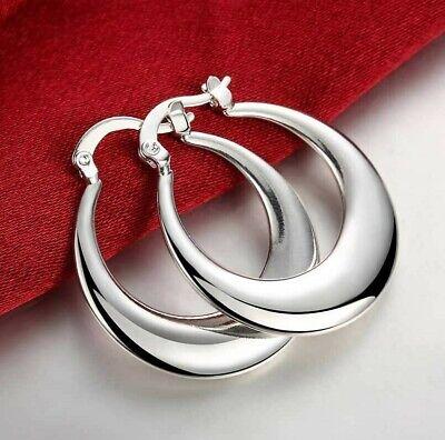 Womens 925 Sterling Solid Silver Elegant Round Pierced Hoop Earrings