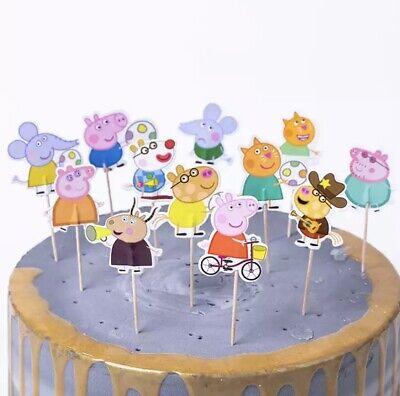 24 Kuchenstecker Topper Peppa Wutz Mädchen Cupcake Geburtstag Schwein Muffins ❤️