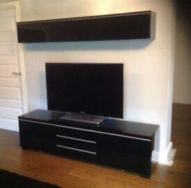 Ikea 'Black Gloss' tv unit & wall unit