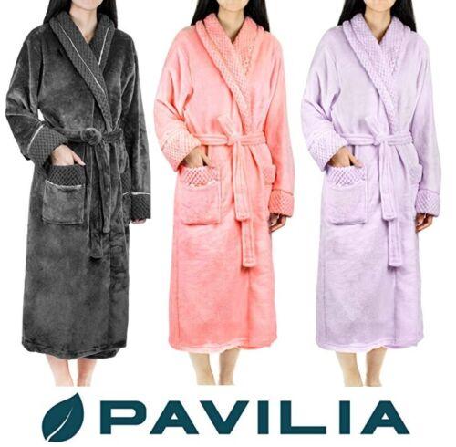 Womens Fleece Robe with Waffle Trim Plush Warm Long Spa Night Bathrobe Sleepwear