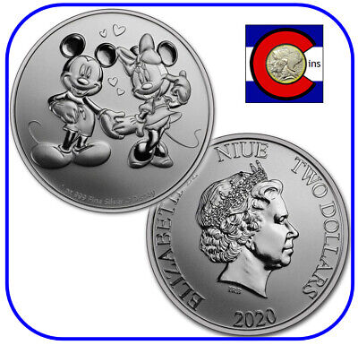 2020 Niue Disney Mickey & Minnie Mouse 1 oz Silver $2 Coin - in capsule
