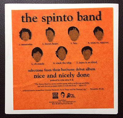 The Spinto Band / Nice And Nicely Done 2005 US promo cardslv 7-track Sampler