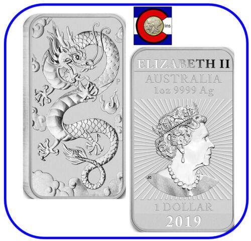2019 Australia Dragon 1 oz. Silver Bar BU - in direct fit capsule