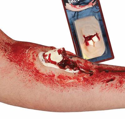 Knochenbruch Narbe Halloween Kostüm Blood Zombie Blutig Make-Up + Kleber Neu