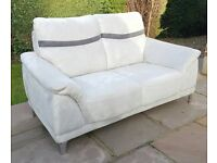 Sofa - Large Two Seater in Light Grey Suede with Charcoal Strip - Living Room Furniture