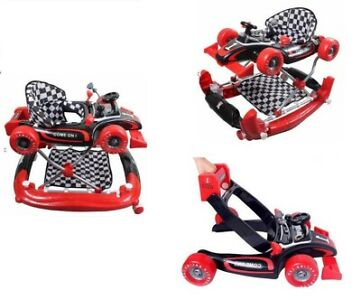 4 in 1 Baby Walker Rocker Formula Racing Car with Toys Play Centre and Push Hand