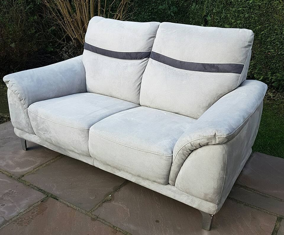 Sofa   Large Two Seater In Light Grey Suede With Charcoal Strip   Living  Room Furniture