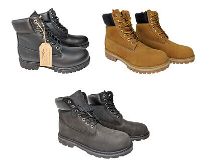 Premium Water Resistant/ Waterproof Men's Leather Work Boots Rubber Outsole