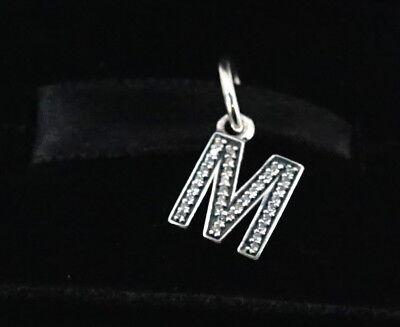 """NEW Authentic Pandora Silver Clear CZ Letter """"M"""" Dangle Charm 791325CZ"""