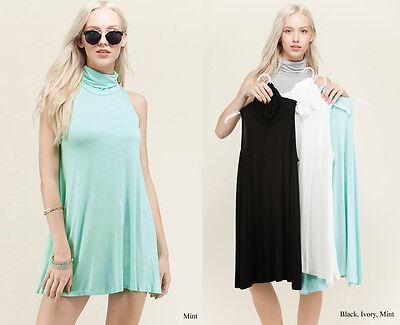 (Basic Solid Colors Sleeveless Turtleneck Mini Shift Flare Soft Knit Plain Dress)