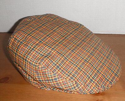 NEW Men's GENUINE STETSON driving cap Hat large 100% linen ORANGE CHEX PLAID