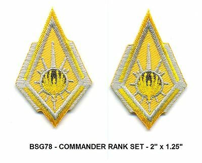BattleStar Galactica COMMANDER RANK Insignia Patch Set - 2 x BSG78